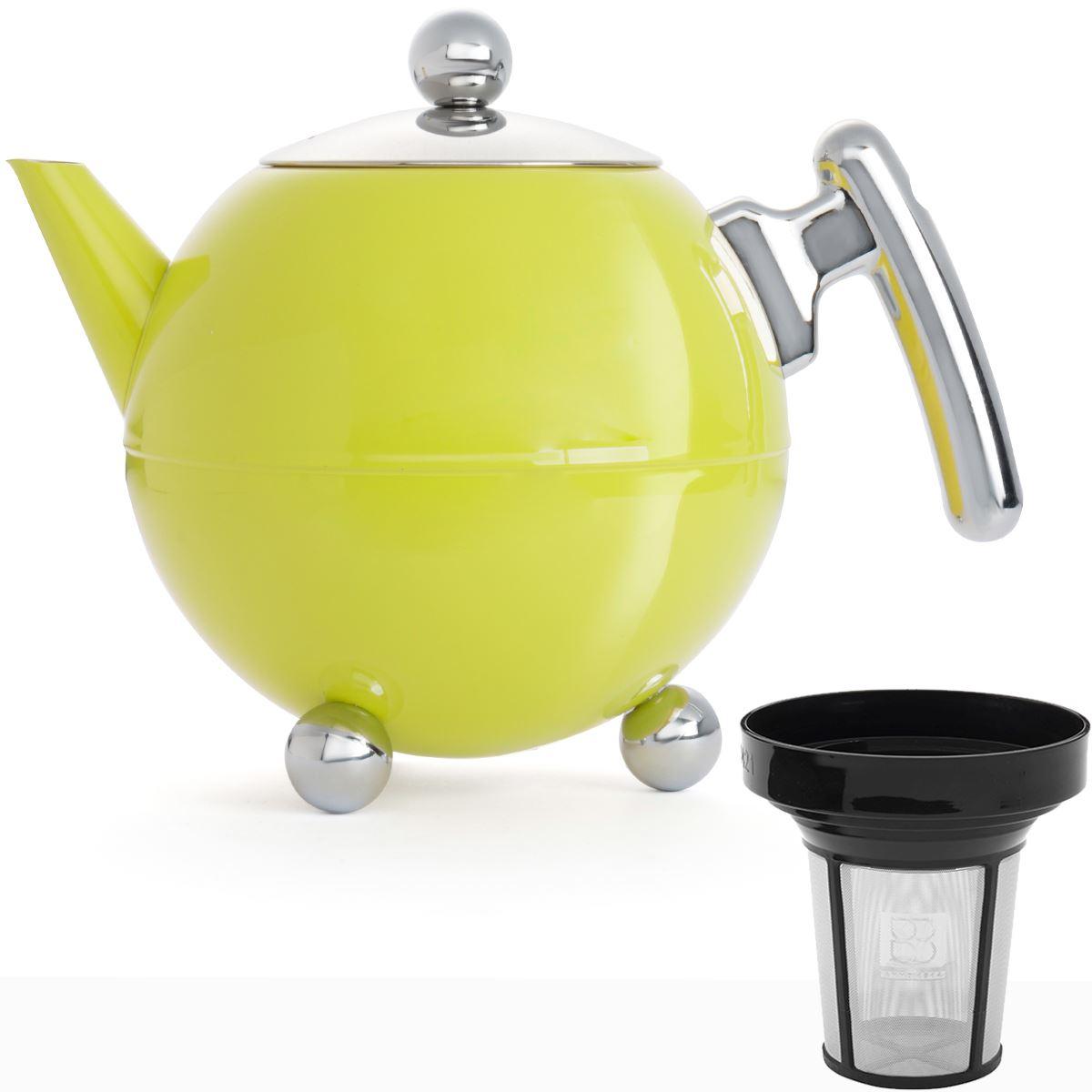 teekanne teebereiter 1 2 liter gelb kanne mit sieb teesieb teefilter edelstahl ebay. Black Bedroom Furniture Sets. Home Design Ideas