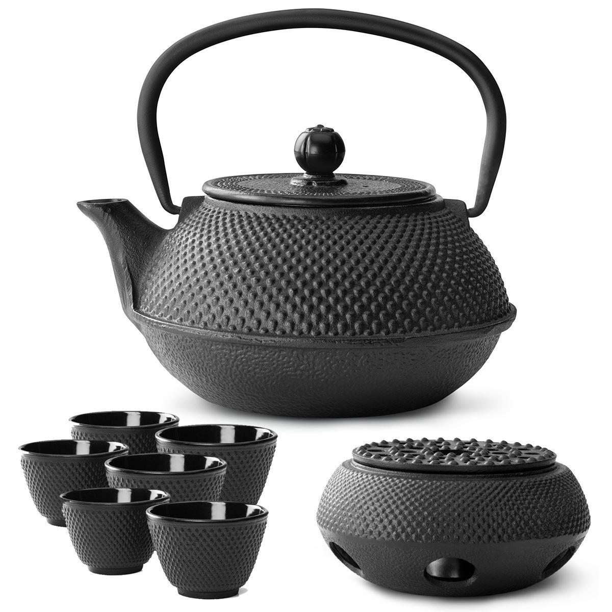 Teekanne Gusseisen schwarz 0,8 Liter Tee Kanne Teebereiter
