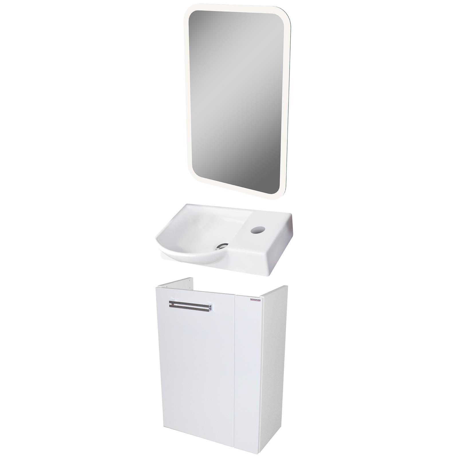 Fackelmann Badmöbel Set Como Gäste WC 3-tlg. 45 cm weiß LED ...