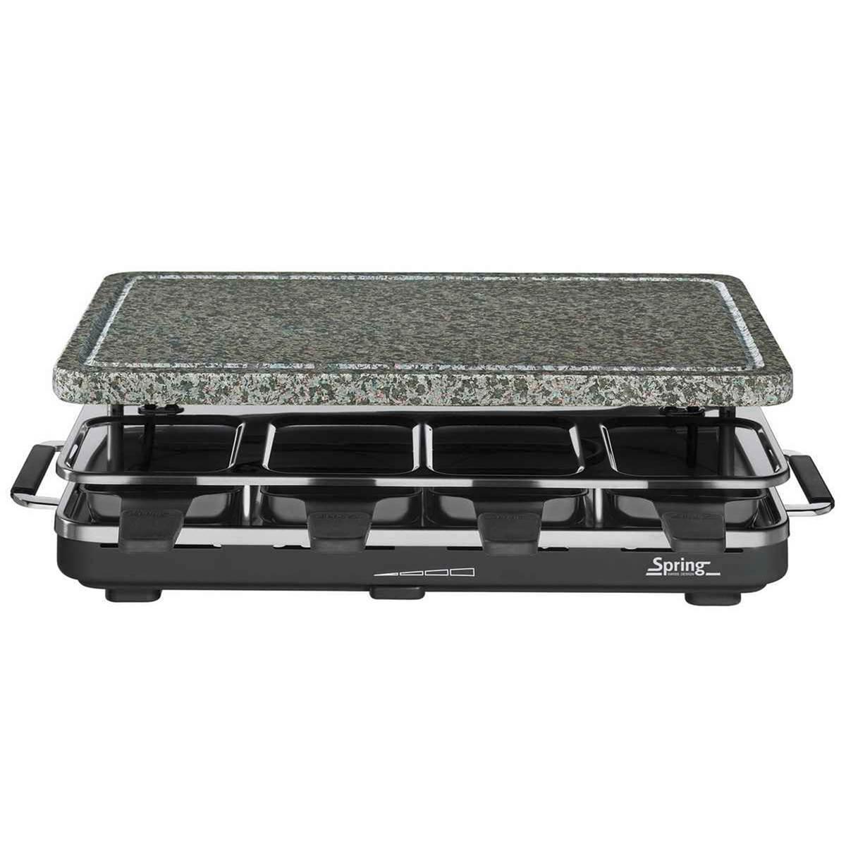 spring raclette 8 grill mit granitstein edelstahl schwarz mit granitplatte ebay. Black Bedroom Furniture Sets. Home Design Ideas