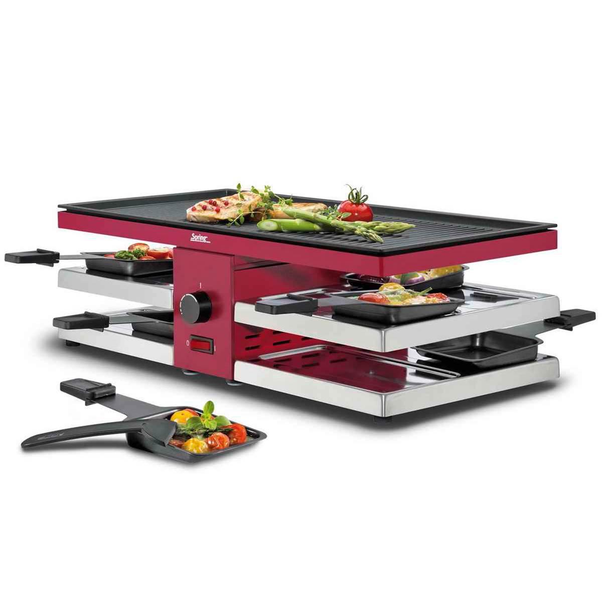 spring raclette grill 8 fun mit alugrillplatte edelstahl. Black Bedroom Furniture Sets. Home Design Ideas
