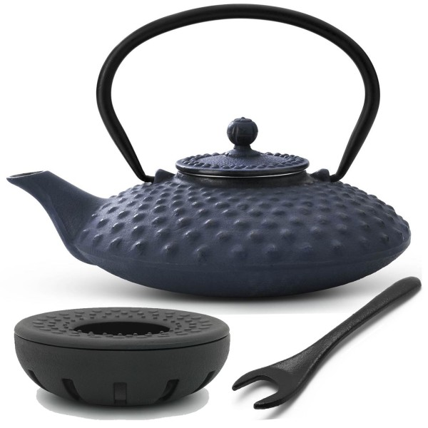 blaues asiatisches Teekannen Set Gusseisen Xilin & Teewärmer & Deckelheber 0,8 Liter