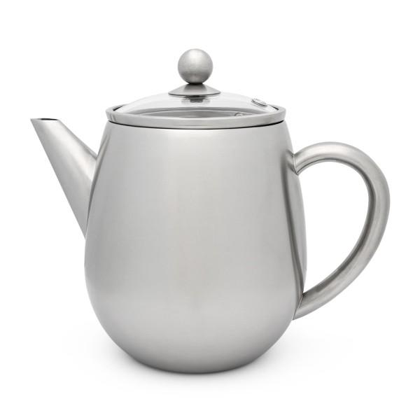 kleine hohe doppelwandige Edelstahl Teekanne 1.1 Liter mit Filtersieb