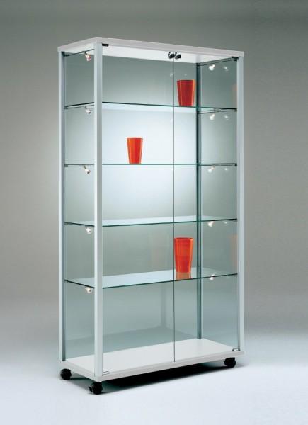 breite beleuchtete Ausstellungs-Vitrine Glas Alu abschließbar 100 cm mit Glasrückwand / auf Rollen