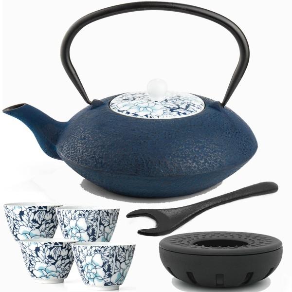 blaue asiatische gusseiserne Teekanne 1.2 L Teewärmer Porzellan-Teebecher & Deckelheber 4 Stück
