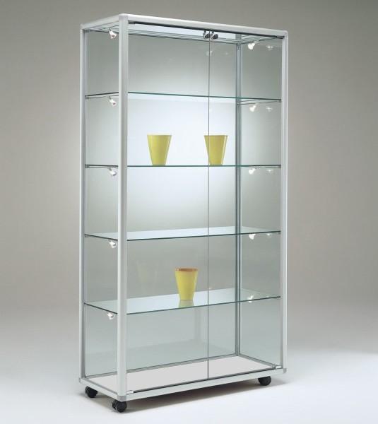 schmale moderne beleuchtete Glasvitrine Ausstellung abschließbar 100 x 50 cm  - Art.-Nr. BV9952-mb-r-gr
