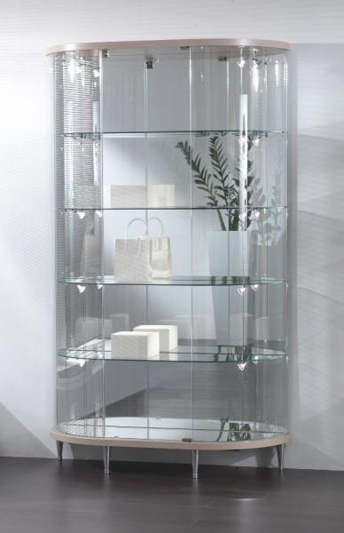 große ovale moderne Design Glasvitrine mit Schloss & Spiegel - Art.-Nr. TL112-38-ob-grau