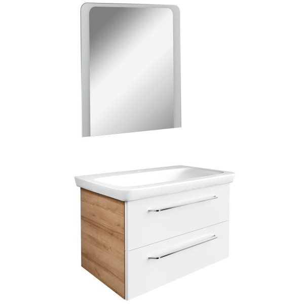 Fackelmann weiß braunes Badmöbel Set hängend 3 teilig 80 cm LED