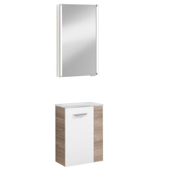 Fackelmann helles Gäste WC Badmöbel Set hängend 45 cm 3 tlg