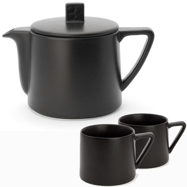 Teekanne Keramik 0,5 L & Teebecher (2 Stück) schwarz / Bredemeijer Lund