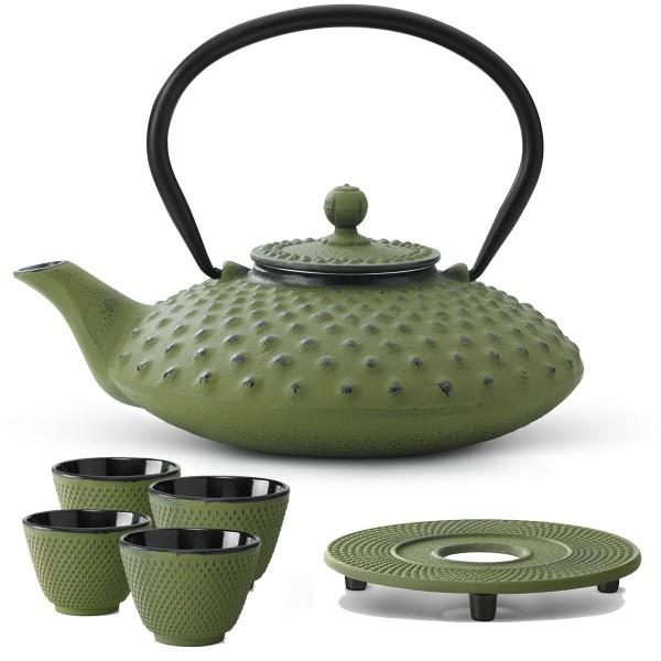 Teekanne Set Kessel Teekessel 0,8 Liter Kanne mit Untersetzer und 4 Becher grün