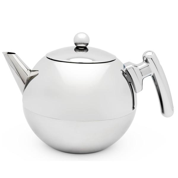 doppelwandige glänzende bauchige Edelstahl Teekanne 1.2 Liter - Art.-Nr.101005