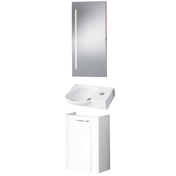 Fackelmann Badmöbel Set Sceno Gäste WC 3-tlg. 45 cm weiß Spiegelelement