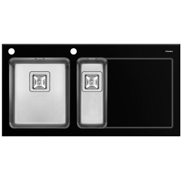 Pyramis Küchenspüle Crystalon 1 1/2 Becken 1D links / schwarz