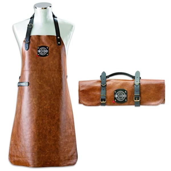 Dick braune Leder Grillschürze inkl. leere Messer Rolltasche 45 x 47 cm aus Leder