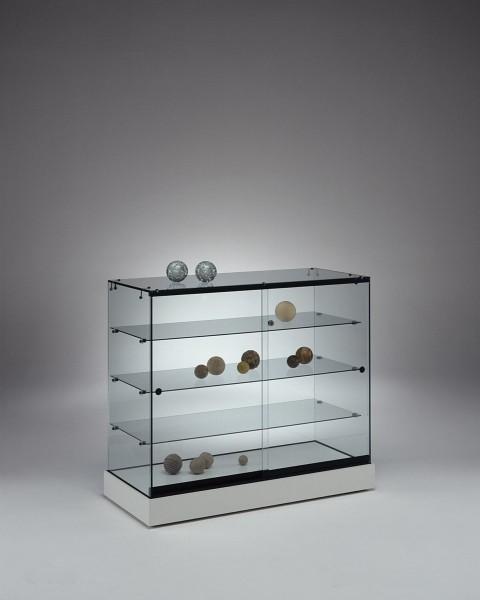 Messetheke Vitrine Glas abschließbar für Ausstellung rollbar 100 cm weiß  - Art.-Nr. PL104-46-ob-weiß