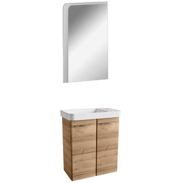 Fackelmann braunes Gäste WC Badmöbel Set 3 teilig hängend 55 cm