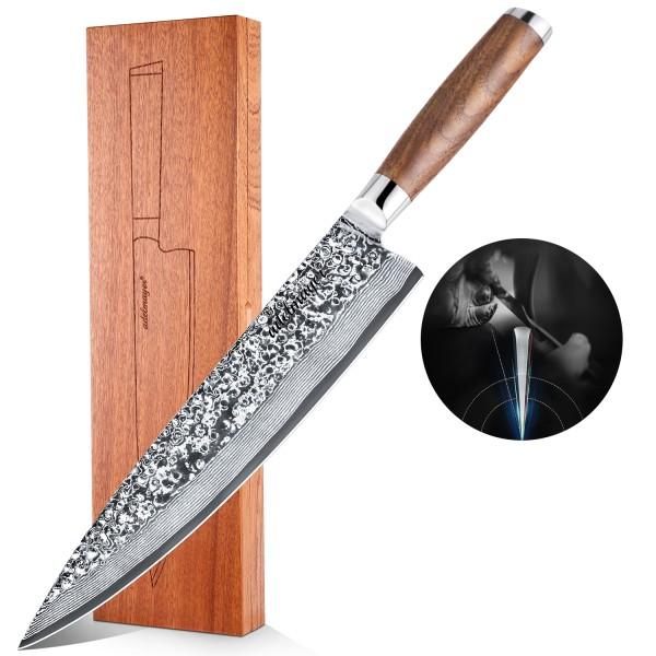 Adelmayer® edles Damast Küchenmesser 25.5 cm mit braunem Walnußholzgriff