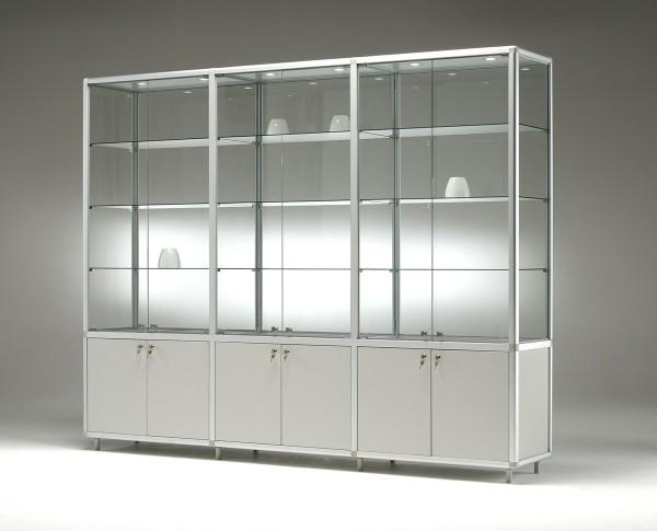 breite Glas Ausstellungsvitrine beleuchtet & Unterschrank abschließbar 230 cm - Art.-Nr. BM23142-mb-gr