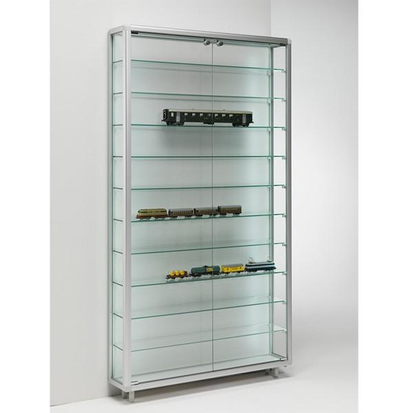 große Wandvitrine Alu Glas für Sammler abschließbar 20 cm tief  - Art.-Nr. BV7920-ob-gr