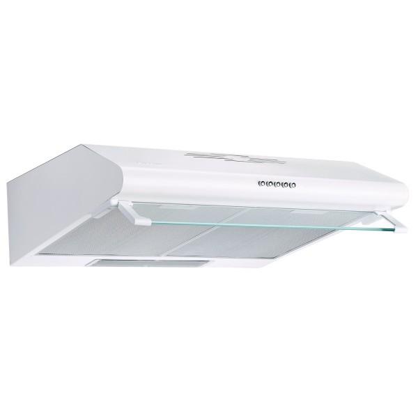 weiße flache Unterbauhaube 60 cm mit Metallfilter