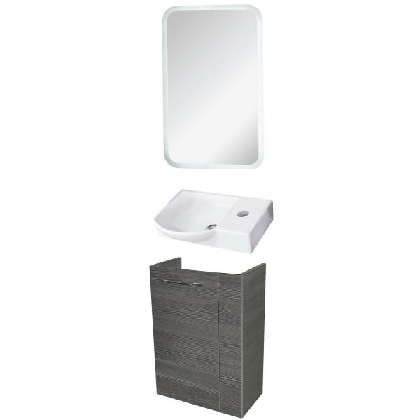 Fackelmann Badmöbel Set Vadea Gäste WC 3-tlg. 45 cm anthrazit inkl. LED Spiegelelement