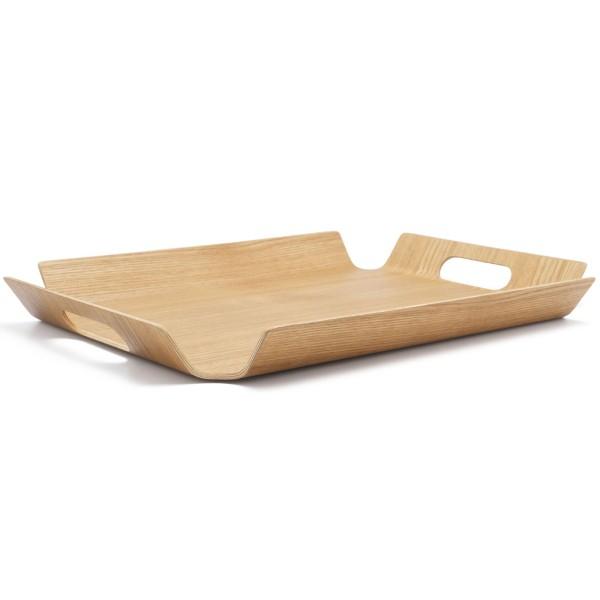 braunes gebogenes rechteckiges Holz Tablett 44.5 cm