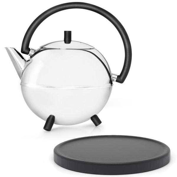 silberne runde glänzende doppelwandige Edelstahl Teekanne 1.2 L & schwarzer Holzuntersetzer