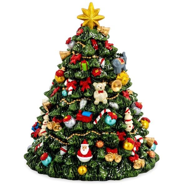 große farbige Spieluhr Ø 12 cm Weihnachtbaum aus Kunststein - Art.-Nr. 6353