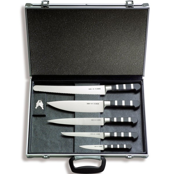 Dick kleiner abschließbarer bestückter Messerkoffer 5 teilig