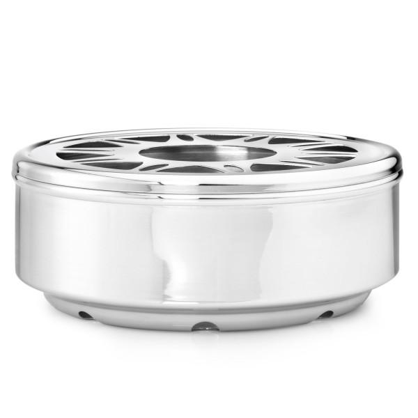 runder Edelstahl Teewärmer Ø 15 cm für 1 Teelicht geeignet