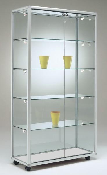 schmale moderne beleuchtete Glasvitrine Ausstellung abschließbar 80 x 40 cm  - Art.-Nr. BV7942-mb-r-gr