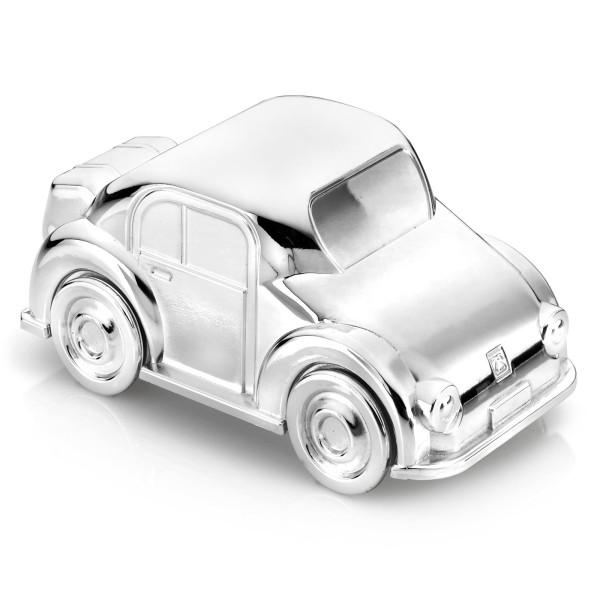 Zilverstad kleine glänzende versilberte Spardose Motiv Auto 13 cm