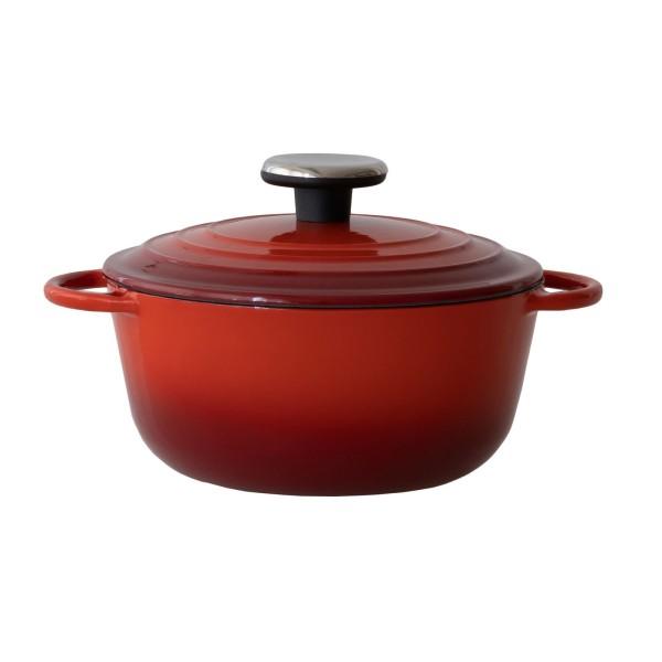 BAF kleiner roter Kochtopf 20 cm aus emailliertem Gusseisen & Deckel - Art.-Nr. 100132202