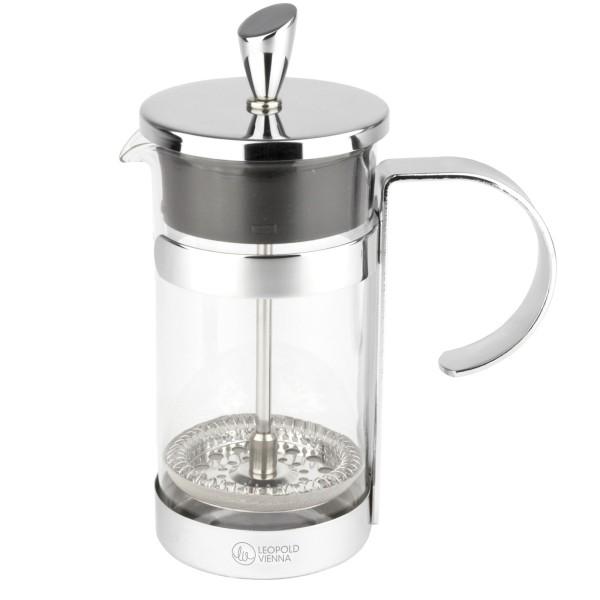 glänzender Kaffeebereiter aus Glas mit Edelstahlfilter