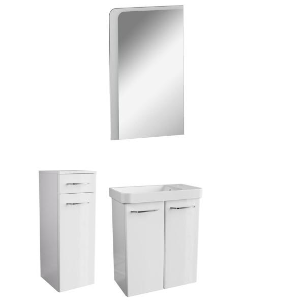 Fackelmann weißes Gäste WC Badmöbel Set 4 teilig hängend 55 cm