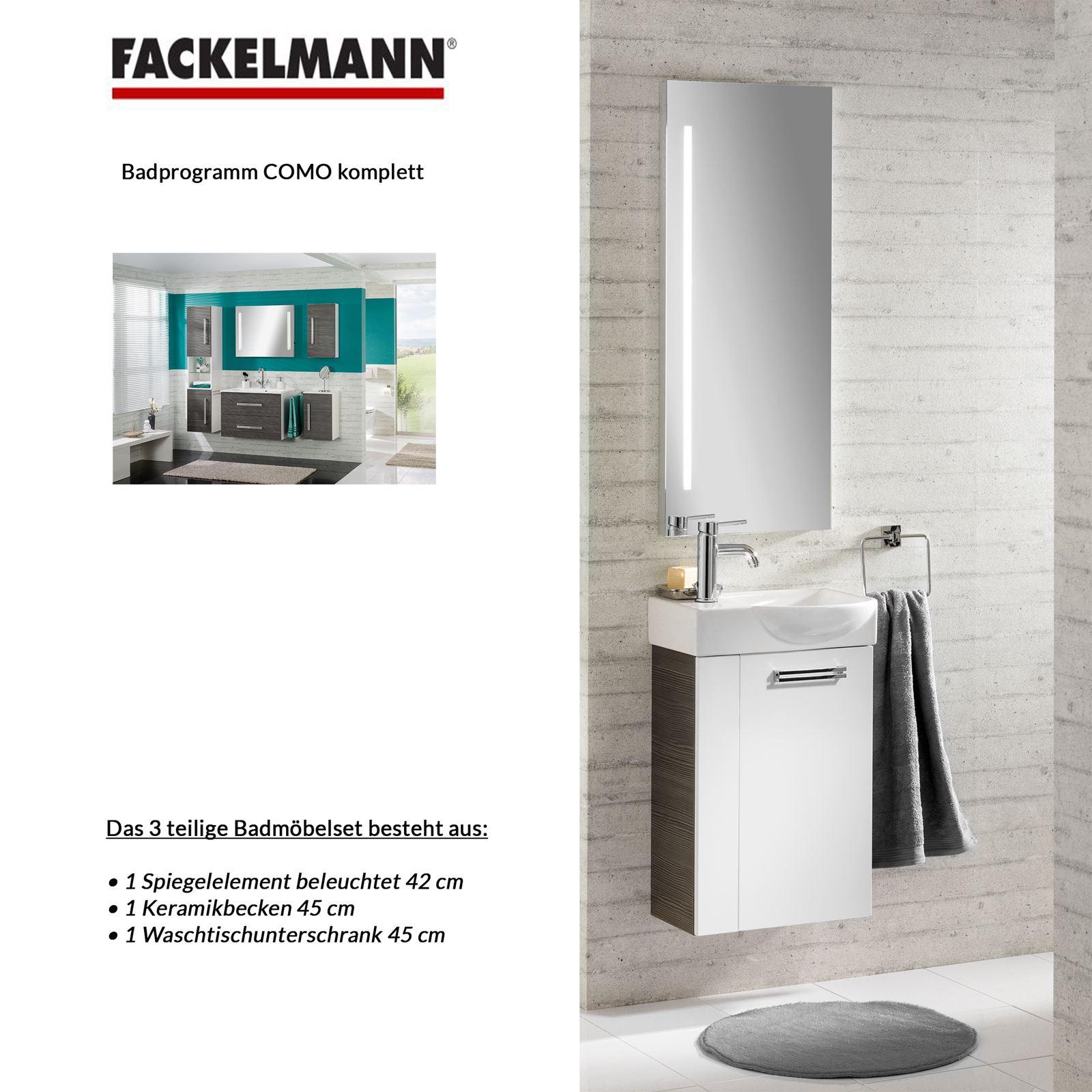Fackelmann Ix Badmöbel Set Gäste Wc Dreiteilig Weiß Esche