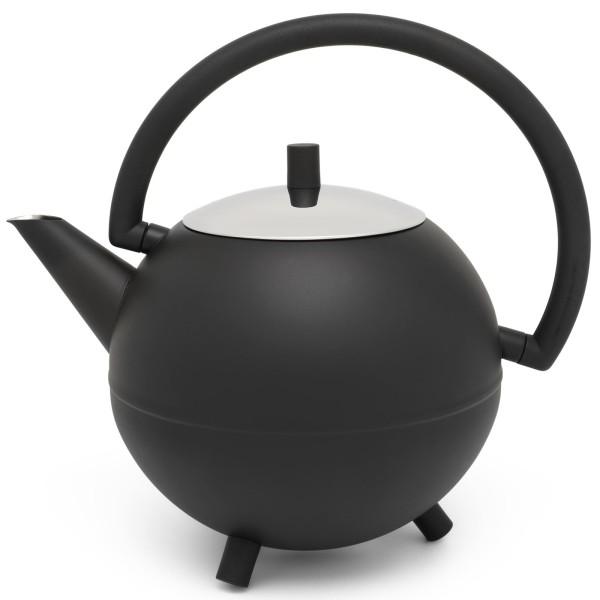 große schwarz matte runde Edelstahl Teekanne 1.2 Liter