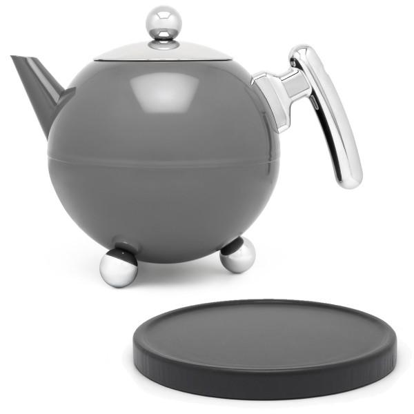 graue bauchige Edelstahl Teekanne 1.2 Liter & schwarzer Untersetzer aus Holz