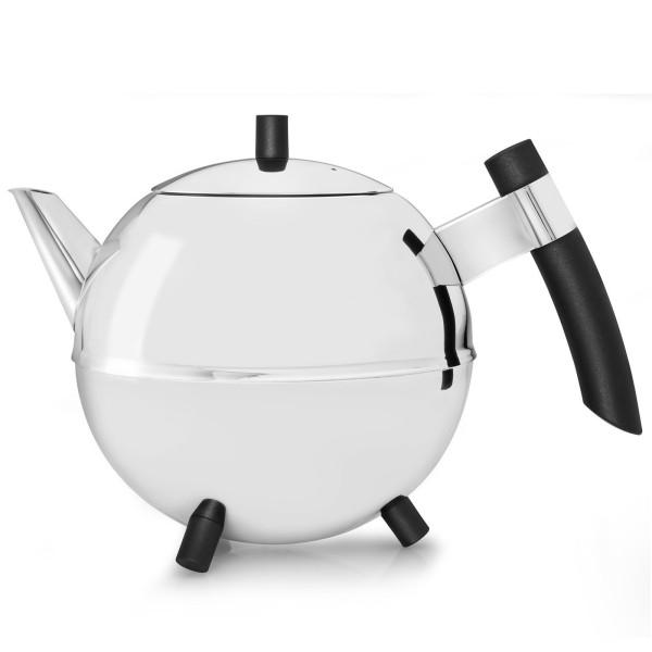 Bredemeijer große bauchige glänzende doppelwandige Edelstahl Teekanne 1.2 Liter