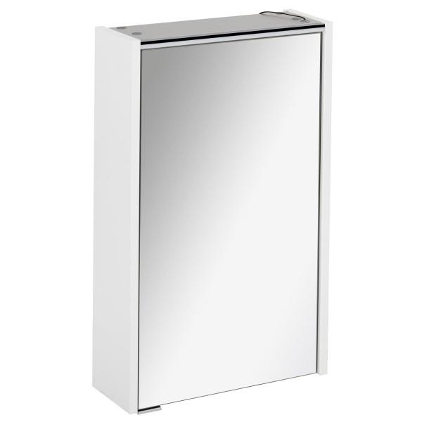 Fackelmann 1 türiger Spiegelschrank mit LED Beleuchtung weiß Denver 42 cm 82181