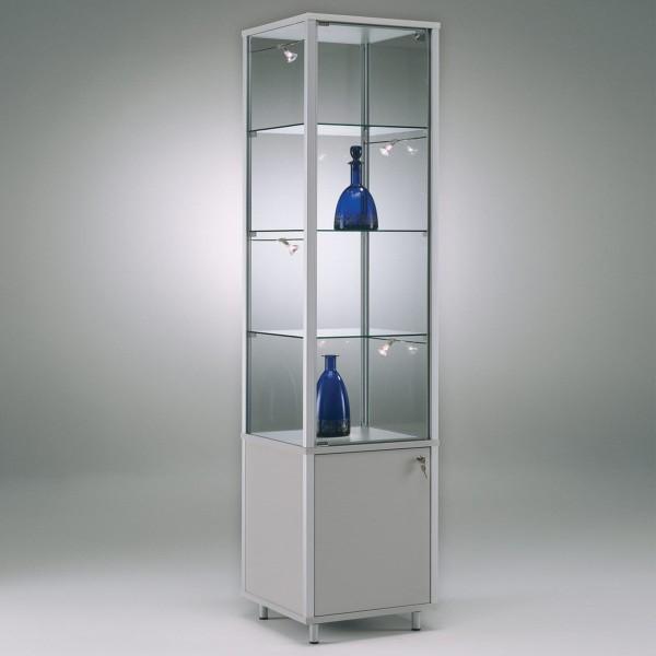 exklusive Glas-Standvitrine 50 cm abschließbar mit Unterschrank mit LED-Beleuchtung ohne Spiegelrückwand / auf Rollen