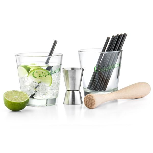Leopold Bar Set Caipirinha inkl. Gläser, Trinkhalme & Stößel aus Holz 5-teilig