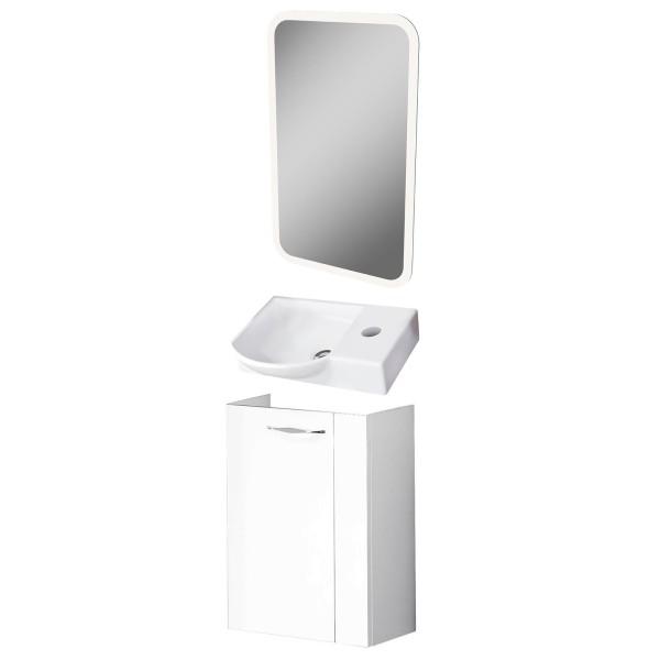 Fackelmann Badmöbel Set Sceno Gäste WC 3-tlg. 45 cm weiß LED Spiegelelement