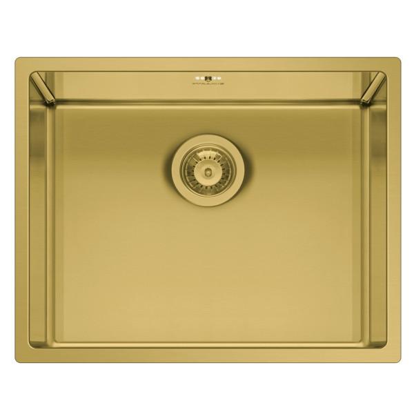 eckiges Edelstahl Unterbaubecken 50 cm 1 Becken gold