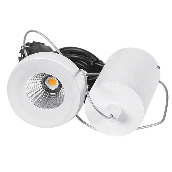 lange weiße dimmbare LED Pendelleuchte Glasrand Ø 8 cm