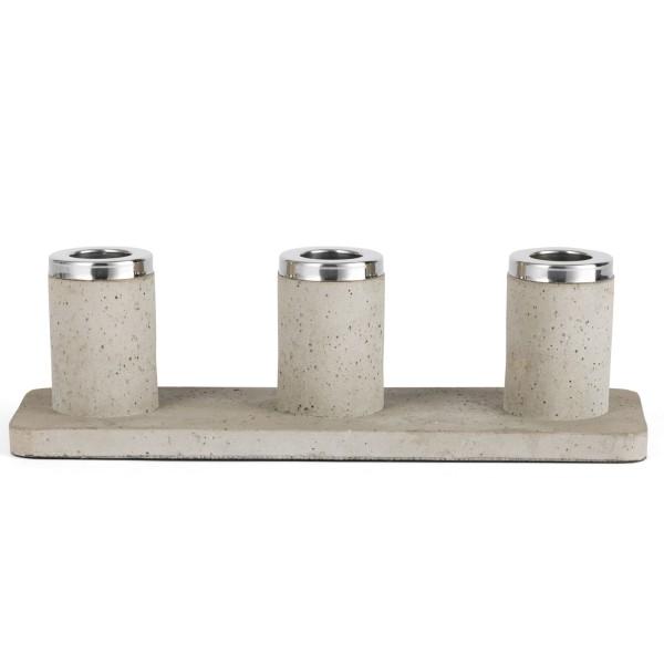 Zilverstad schmaler hellbrauner Kerzenhalter aus Beton 3 fach 24 cm breit