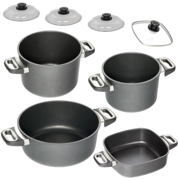 AMT Topfset 4 teilig Aluguss antihaft-beschichtet PFOA frei 1 Bratentopf 2 Kochtöpfe 1 Eckpfanne nicht induktionsfähig inklusive 4 Glasdeckel