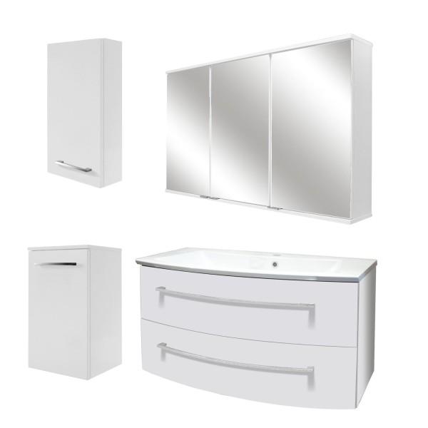 Fackelmann großes Badezimmer Möbel Set hängend 100 cm LED Hängeschrank links