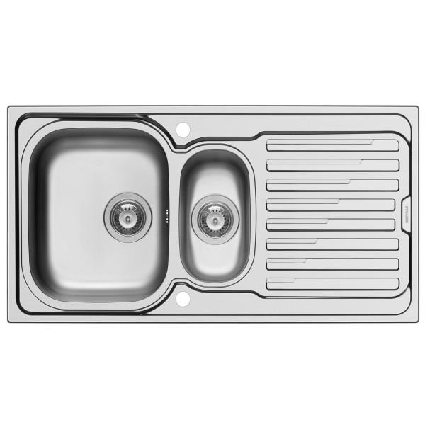 breite Einbau Edelstahl Küchenspüle 100 cm 1 1/2 Becken